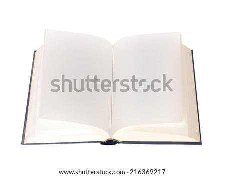 the open book with empty sheets on a white background - stock photo