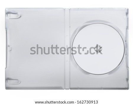 The open DVD case with disk inside isolated - stock photo