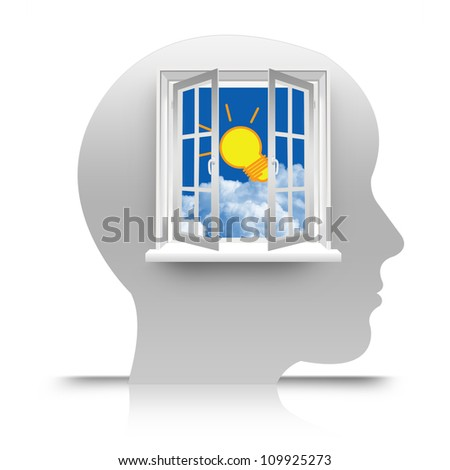 The Open Window to Blue Sky With The Light Bulb on The Head for Making  Idea Concept - stock photo