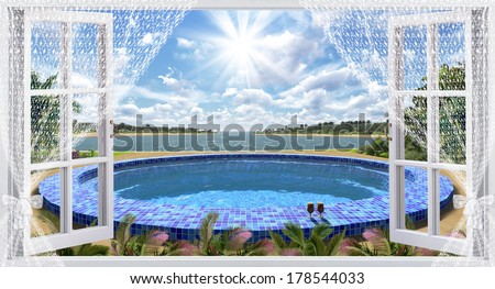 The open window with sea view - stock photo