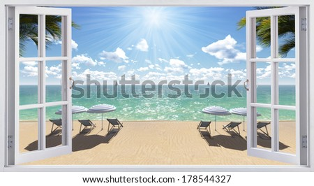 The open window, with sea views - stock photo