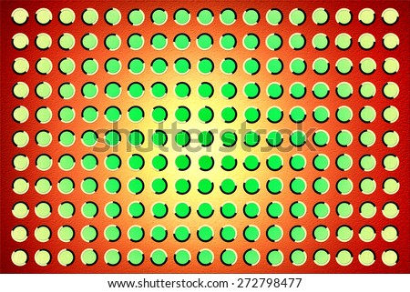 The optical illusion of movement executed in the form of fluctuating green circles over red background - stock photo