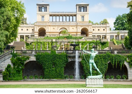 The Orangery Palace (Orangerieschloss) in Park Sanssouci in Potsdam, Germany - stock photo