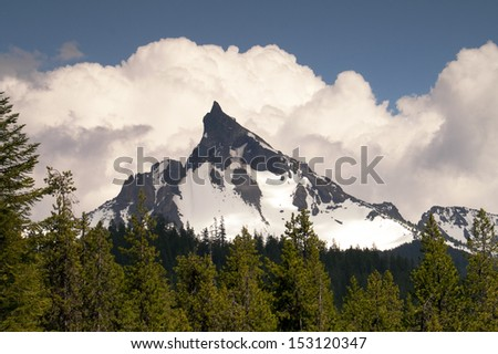 The Oregon High Cascade has Multiple Peaks over 9,000 feet and this is one of the most picturesque  - stock photo