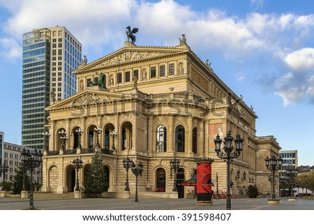 The original opera house in Frankfurt is now the Alte Oper (Old Opera), a concert hall and former opera house in Frankfurt am Main, Germany. - stock photo