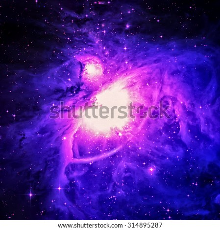 The Orion Nebula (also known as Messier 42, M42, or NGC 1976) is a diffuse nebula situated in the Milky Way. Elements of this image furnished by NASA - stock photo