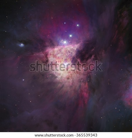 The Orion Nebula (Messier 42; M42 or NGC 1976) is a diffuse nebula situated in the Milky Way; in the constellation of Orion. Retouched image. Elements of this image furnished by NASA. - stock photo