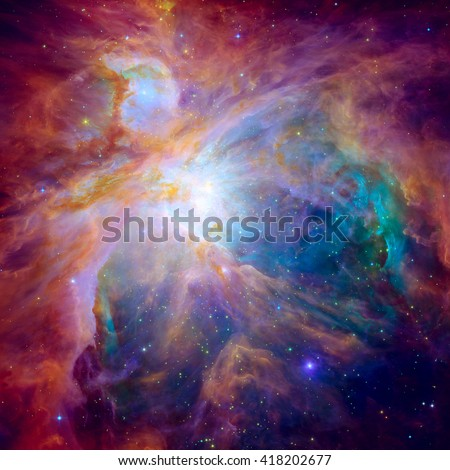 The Orion Nebula. Space with stars, nebula and galaxy. Elements of this image furnished by NASA. - stock photo