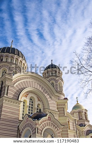 The Orthodox Cathedral that lies in the Latvian capital of Riga. - stock photo