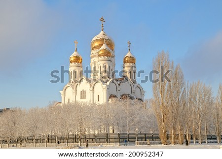 the orthodox temple in a winter season. - stock photo