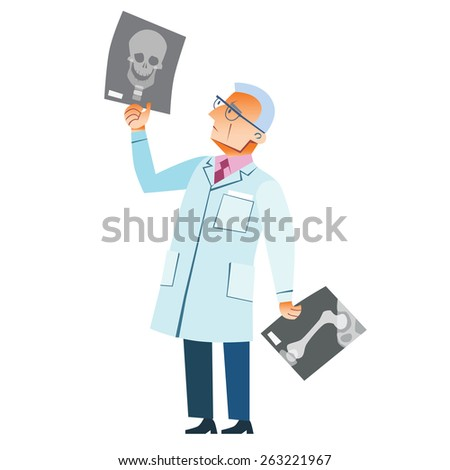 The orthopedic doctor examines an x-ray of a fracture of the skull medicine health - stock photo