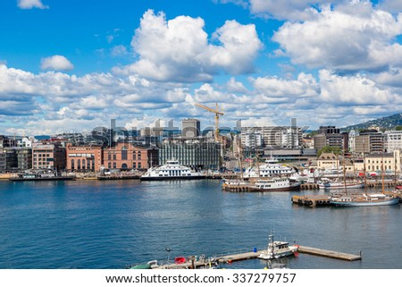 The Oslo Norway Harbor is one of Oslo's great attractions in Oslo, Norway in a summer day - stock photo