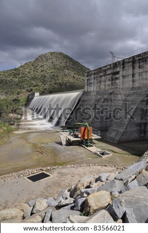 The Otjivero Dam overflowing, Namibia - stock photo