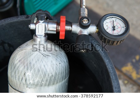 The oxygen cylinder through use of firefighters in Thailand - stock photo