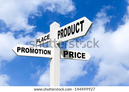 The 4 P's, also known as the 'marketing mix', are commonly used by most marketing departments and agencies around the world to ensure all the elements of a campaign have been addressed before launch. - stock photo