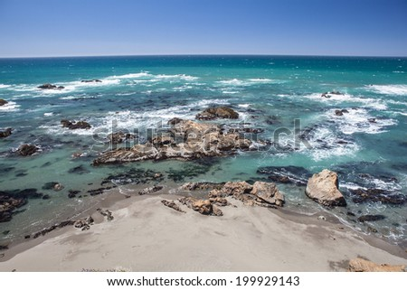 The Pacific Ocean has worn Northern California's coastline into rugged, dramatic scenery. Not far from the shoreline kelp forests thrive, supporting many fish and invertebrates. - stock photo