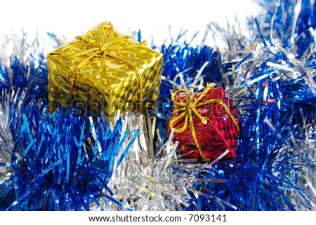 The packed gifts on blue decoration. Close-up view - stock photo