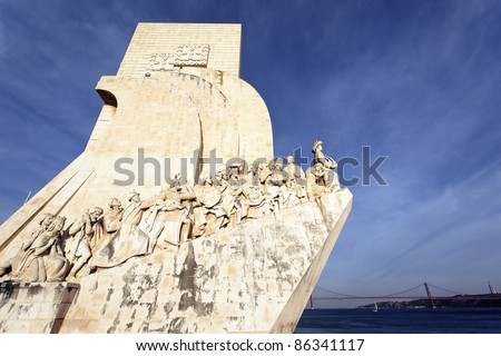 The Padrao dos Descobrimentos, monument in Lisbon. - stock photo