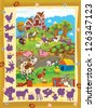 The page with exercises for kids - farm - illustration for the children - stock photo