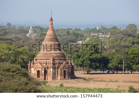 The pagoda in old Bagan , Myanmar - stock photo