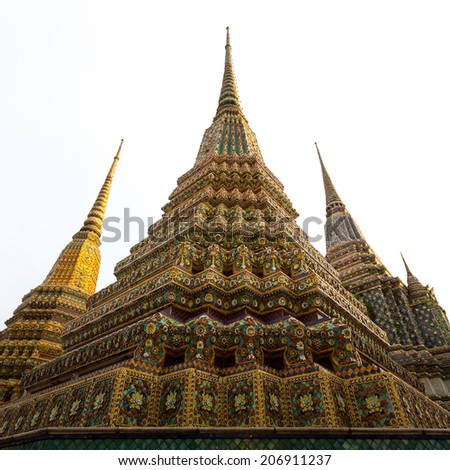 The pagoda of Wat Arun temple in Thailand. - stock photo