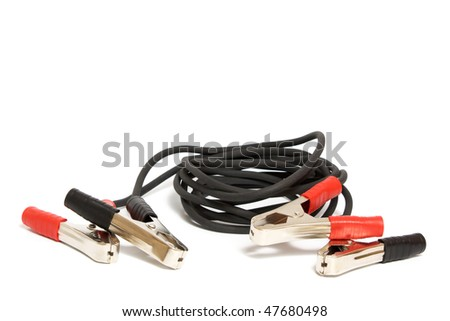 the pair jumper cables isolated on white background - stock photo
