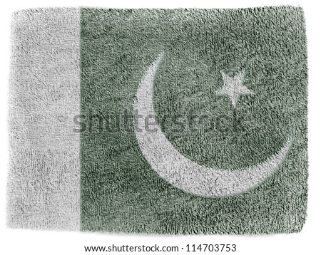 The Pakistani flag painted on  grey towel - stock photo