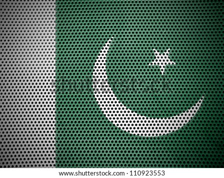 The Pakistani flag painted on  metall grill - stock photo