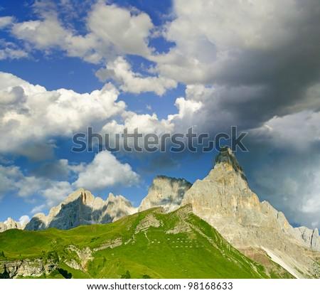 The Pala group (Italian : Pale di San Martino, Dolomiti delle Pale or Gruppo delle Pale) Mountain range in the Dolomites, in the eastern Trentino, part of the province of Belluno, Italy. UNESCO WH - stock photo