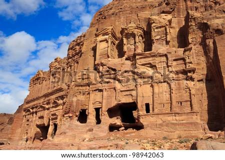The Palace and Corinthian Tombs, Petra, Jordan - stock photo