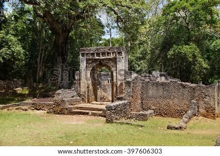 The palace at Ruins of Gede near Malindi, Kenya - stock photo