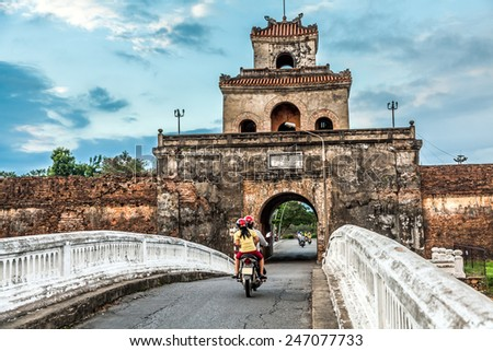 The palace gate, Imperial Palace moat, Vietnam - stock photo
