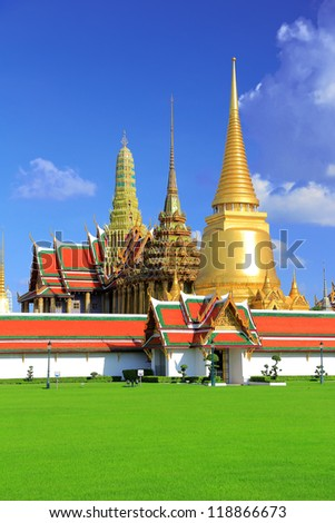 The palace of the king of Thailand. Opened as a tourist destination in Asia. - stock photo