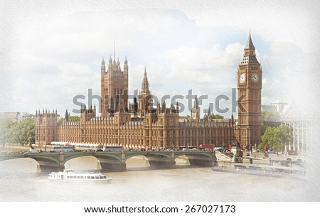The Palace of Westminster, Elizabeth Tower and Westminster Bridge. Photo in retro style. Added paper texture. - stock photo