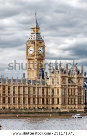 The Palace of Westminster in London.  - stock photo