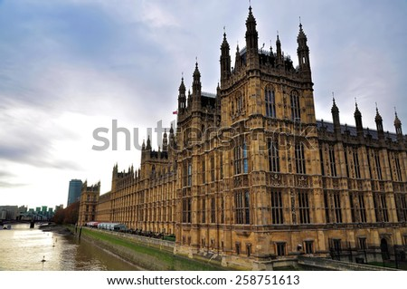 The Palace of Westminster, London - stock photo