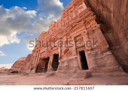 The Palace tomb in Petra in Jordan is one of the biggest of the Royal Tombs. Part of its facade was completed with pre-assembled stones. - stock photo