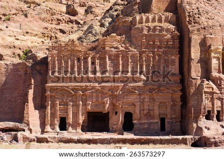 The Palace tomb, one of the 'Royal Tombs' in Petra in Jordan - stock photo