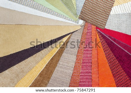 The palette of the furniture upholstery fabric - stock photo