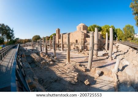 The Panagia Chrysopolitissa church. Paphos, Cyprus - stock photo