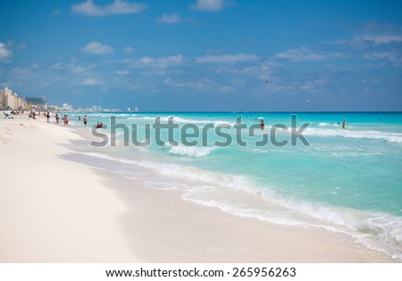 The panorama of the white sand beach of Caribbean sea in Cancun Mexico - stock photo