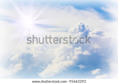 The panorama over clouds in the day. - stock photo