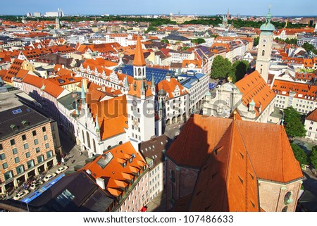 The panorama view of Munchen city centre. Munich, Germany - stock photo