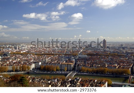 The panoramic aerial view at Lyon from Basilique de Fourviere hill. Lyon. France - stock photo
