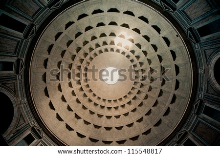 The Pantheon Ceiling, Rome, Italy - stock photo