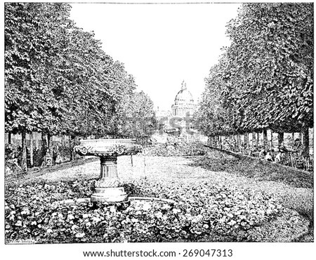 The Pantheon seen from the Luxembourg Gardens, vintage engraved illustration. Paris - August 1890. - stock photo