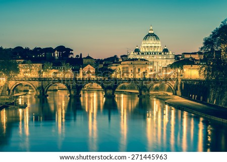 The Papal Basilica of Saint Peter in the Vatican (Basilica Papale di San Pietro in Vaticano) with vintage filtered. - stock photo