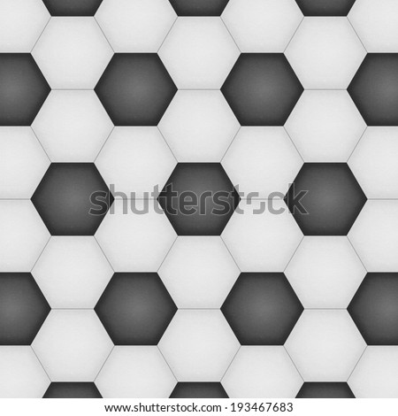 the paper cut of soccer, football texture is black and white hexagon background for illustration wallpaper - stock photo
