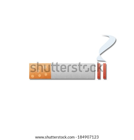 the paper cut pattern of cigarette with smoke is isolated icon on white background - stock photo