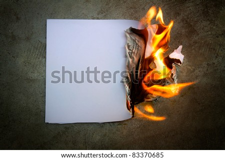 The paper was a fire burning - stock photo
